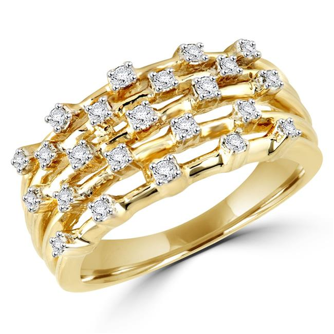 Majesty Diamonds MDR140122-8.25 0.25 CTW Round Diamond Cocktail Ring in 14K Yellow Gold - Size 8.25 - image 1 de 1