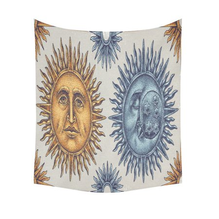 GCKG Vintage Face Sun Moon Stars Tapestry Wall Hanging Gold Blue Boho Wall Decor Art for Living Room Bedroom Dorm Cotton Linen Decoration 51 x 60 Inches ()