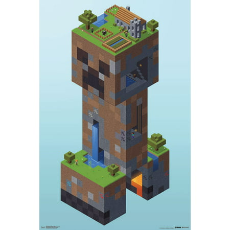 Trends International Minecraft Creeper Village Wall Poster 22.375