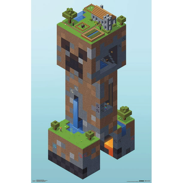 "Trends International Minecraft Creeper Village Wall Poster 22.375"" x 34"""