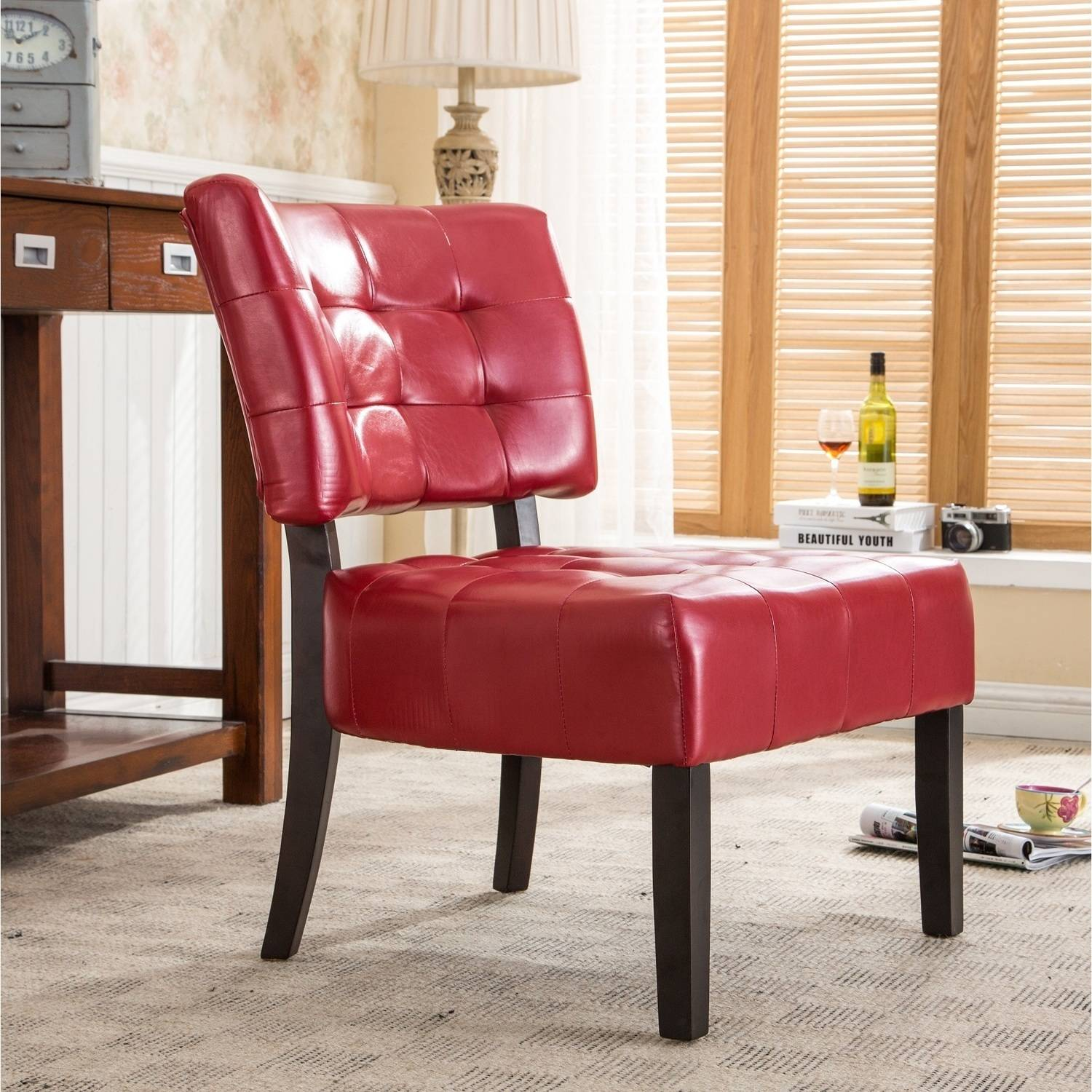 Roundhill Blended Leather Tufted Accent Chair with Oversized Seating, Multiple Colors Available