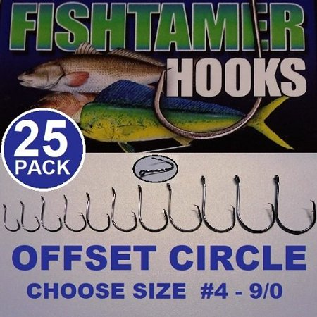 (25pk) 4/0 Offset Circle Fishing Hooks - FISH TAMER Pro Pack - Super Sharp High Carbon Steel - Available Sizes #4 - 9/0