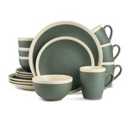 Stone Lain 16-Piece Stoneware Round Dinnerware Set, Service for 4 Two Tone in Green and Cream With Speckle