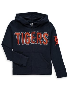 Detroit Tigers 5th & Ocean by New Era Girls Youth Brushed Sweater Knit Tri-Blend Full-Zip Hoodie - Navy