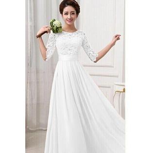Unomatch Women Winter Party Dresses Lace Designed Long Chiffon Wedding Dresses Prom Dress White](Winter Lace)