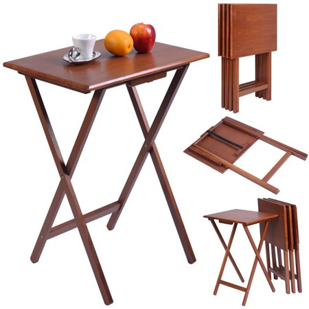 Set of 4 Portable Wood TV Table Folding Tray Desk Serving Furniture Walnut