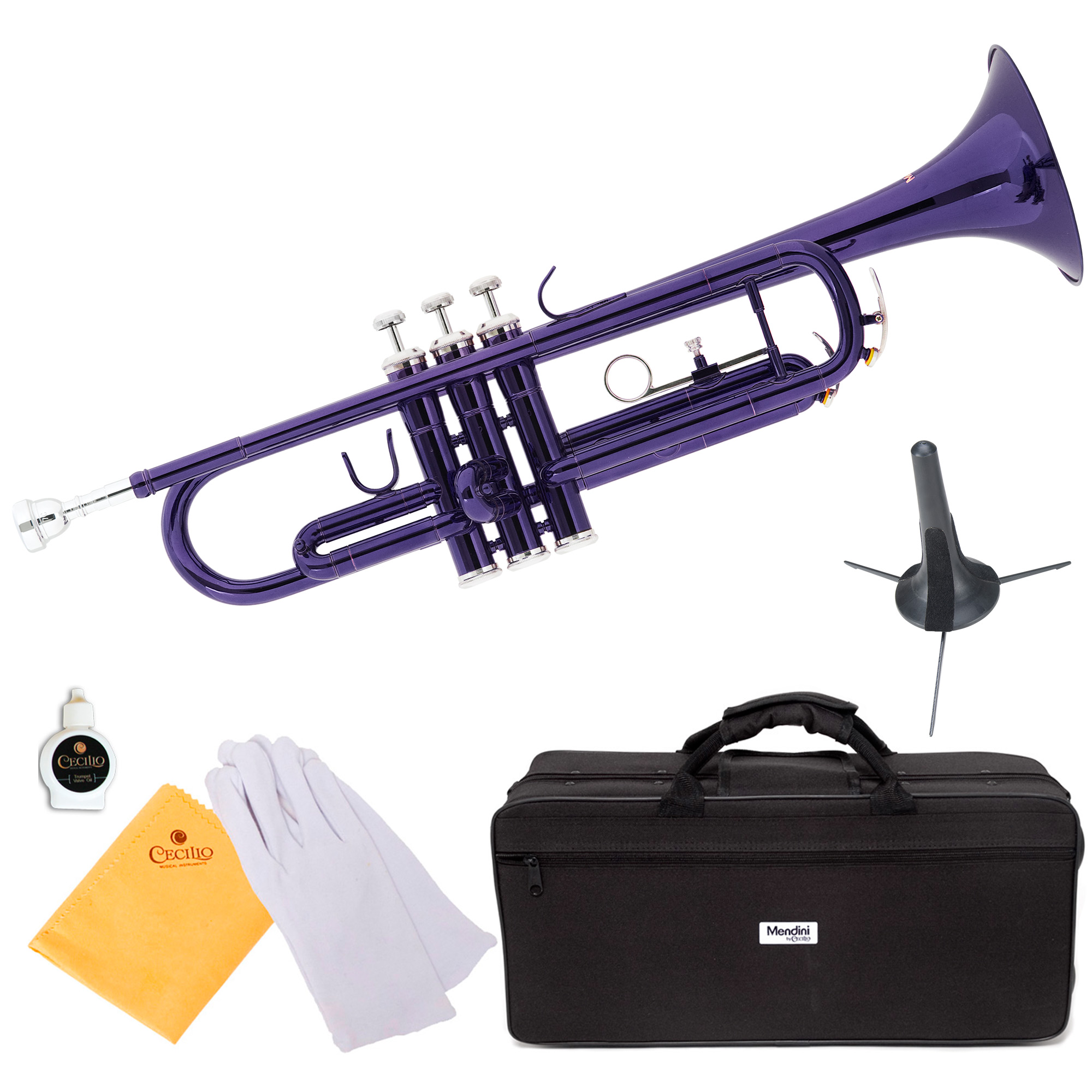 Mendini by Cecilio MTT-PL Purple Lacquer Brass Bb Trumpet with Trumpet Stand and Durable Deluxe Case