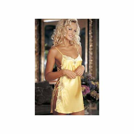 Charmeuse Print Chemise (Buttercup Charmeuse And Dyed Lace Chemise 20015 Shirley Buttercup)