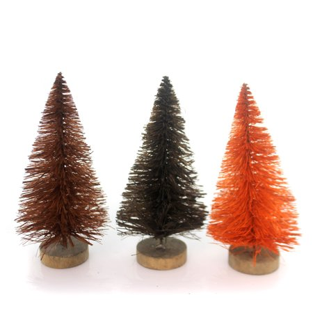 Halloween FALL BOTTLE BRUSH TREE SET / 3 Wire Halloween Village Accessory - Halloween And Fall Crafts