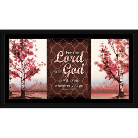 Lord Your God Joshua Landscape Tree Pattern Religious Painting Red & Brown, Framed Canvas Art by Pied Piper Creative (Brown Red Art)