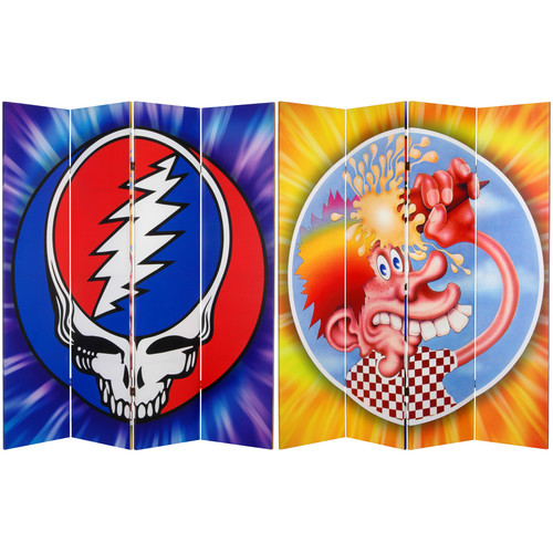 Oriental Furniture 71'' x 63'' Tall Double Sided Grateful Dead Steal Your Face 4 Panel Room Divider