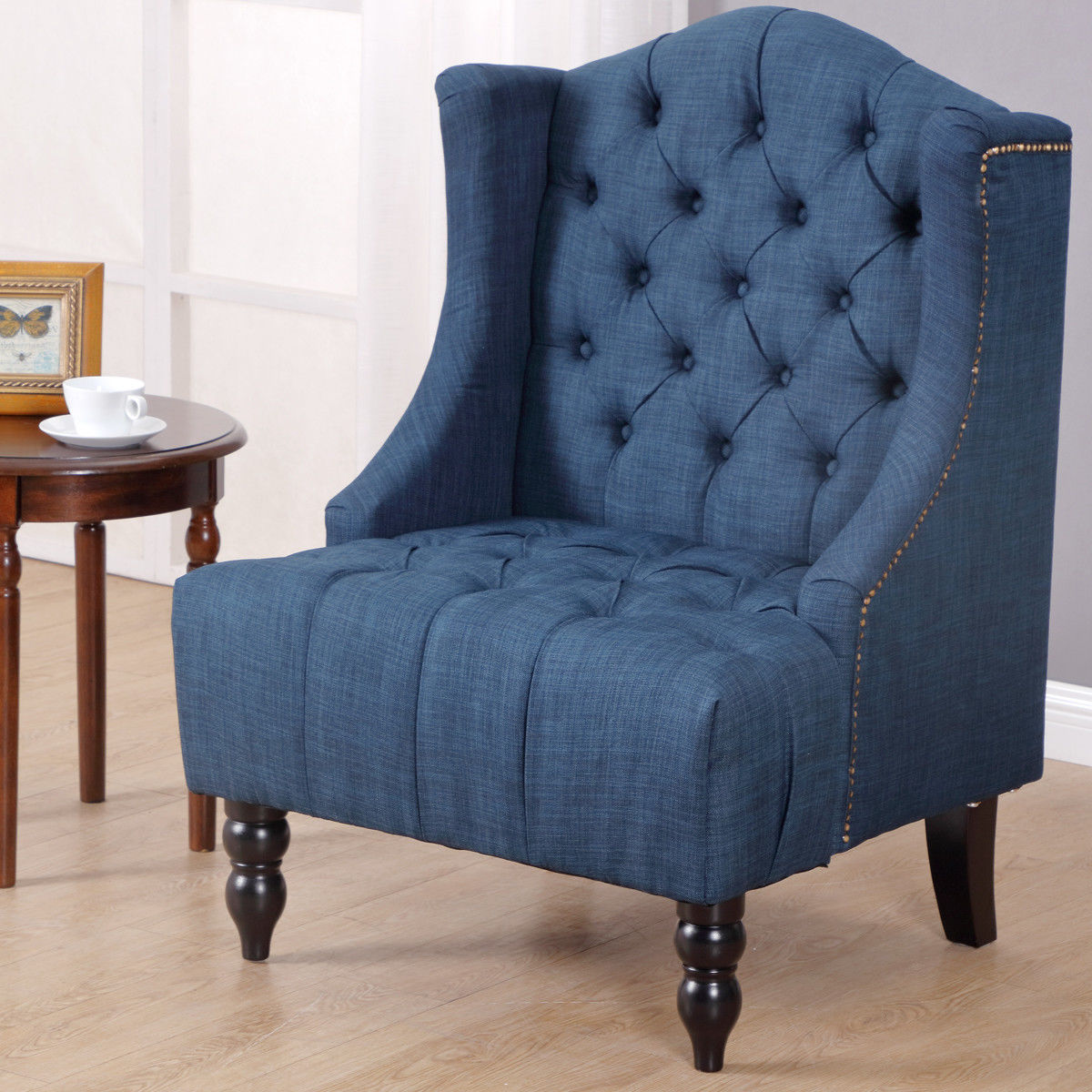Costway Modern Tall Wingback Tufted Accent Armchair Fabric Vintage Chair Nailhead Navy by Costway