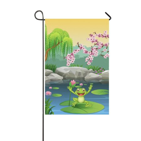Jumping Frog Water - MYPOP Cute Frog Jumping on the Lily Water Garden Flag Banner 12 x 18 inch