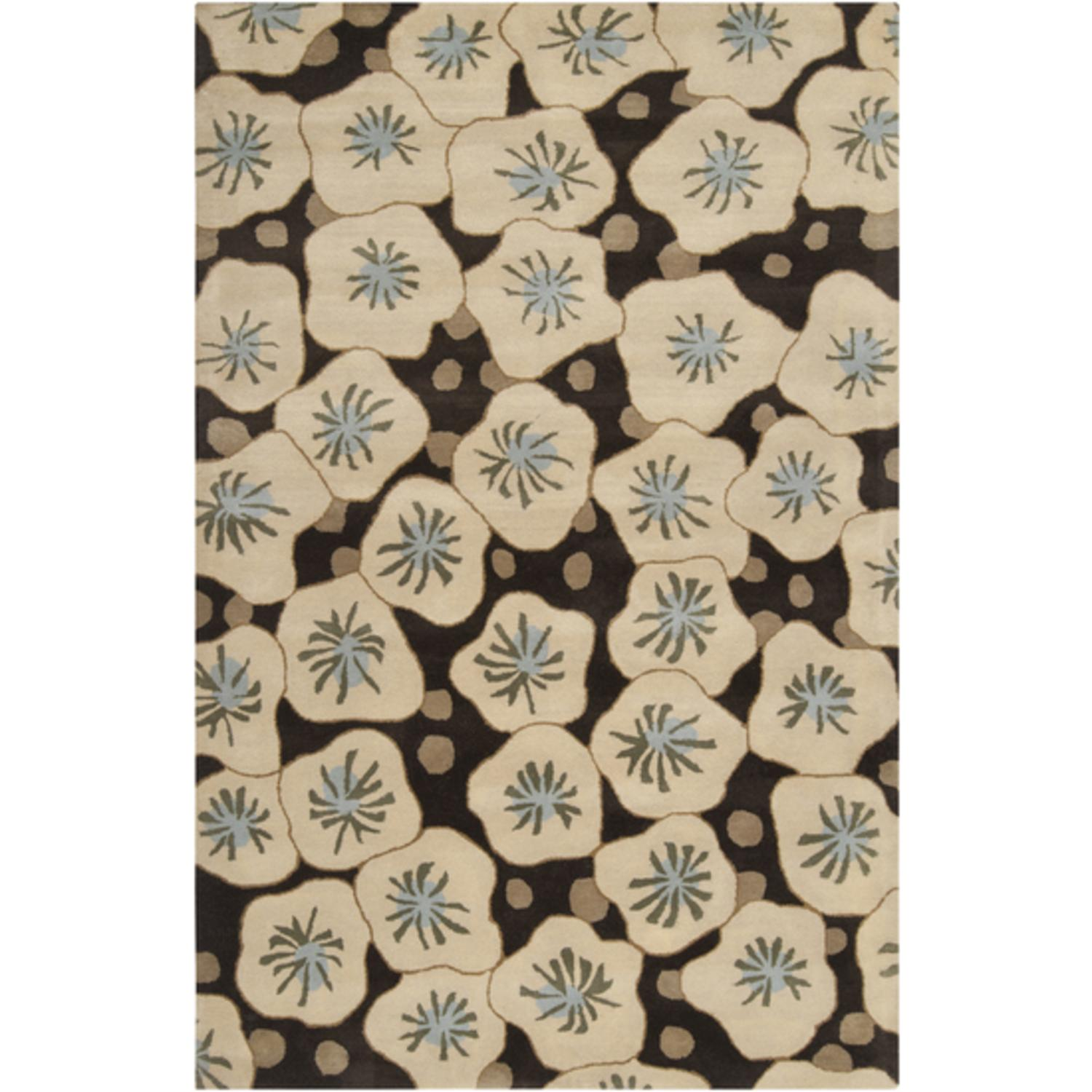 9' x 13' Sweet Meadow Pine Green and Safari Tan Wool Area Throw Rug