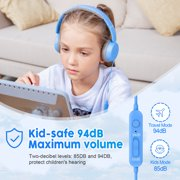 New Bee Kids Headphones with Microphone On-Ear Girls Boys Headphones with USB-C Adapter, Volume Limiter 85/94dB, Foldable Headphones for PC/MacBook/iPad, Blue