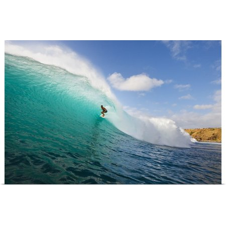 Great BIG Canvas | Rolled MakenaStock Media Poster Print entitled Hawaii, Maui, Kapalua, Surfer Tides Perfect Wave At Honolua Bay