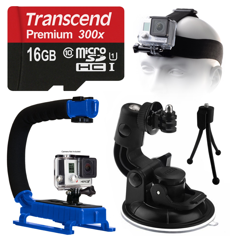 Opteka xGrip Stabilizing Action Grip Handle Handheld Holder (Blue) , 16GB MicroSD Card, Car Mount+ Head Strap, Mini Tripod, Dust Removal Cleaning Care Kit for GoPro Hero4 Hero3+ Hero3, Camera