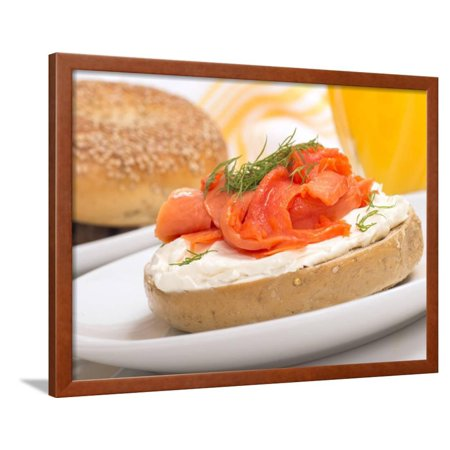 Delicious Freshly Baked Everything Bagel with Cream Cheese, Lox and Dill Served with Fresh Orange J Framed Print Wall Art By