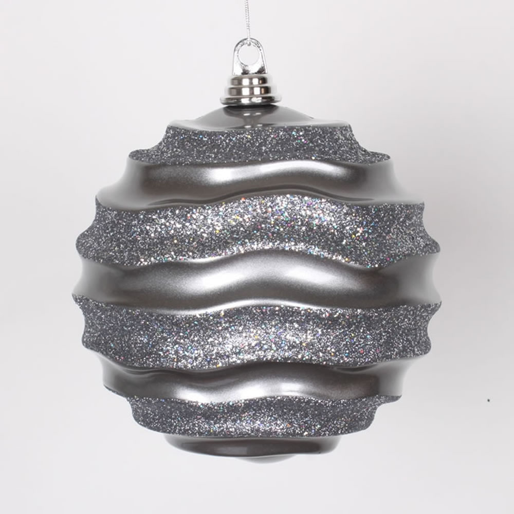 "Pewter Gray Glitter Wave Shatterproof Christmas Ball Ornament 8"" (200mm)"