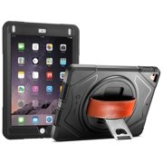 "iPad 9.7"" 2018/2016 and iPad Air Full-Body Rugged Protective Case with 360-Degree Rotatable Hand Strap with Built-In Screen Protector & Metal Kickstand"