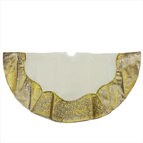 NorthLight 48 inch White Velvet Tree Skirt With Gold And Silver Border And Metallic Trim