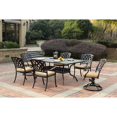 Fleur De Lis Living Campton 7 Piece Dining Set with Cushion