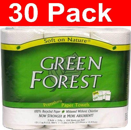 Green Forest White Paper Towels (30xROLLS)