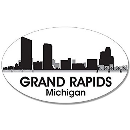 Oval B/W SKYLINE of GRAND RAPIDS Sticker Decal (city michigan decal) Size: 3 x 5 inch - Party City Grand Rapids Mi