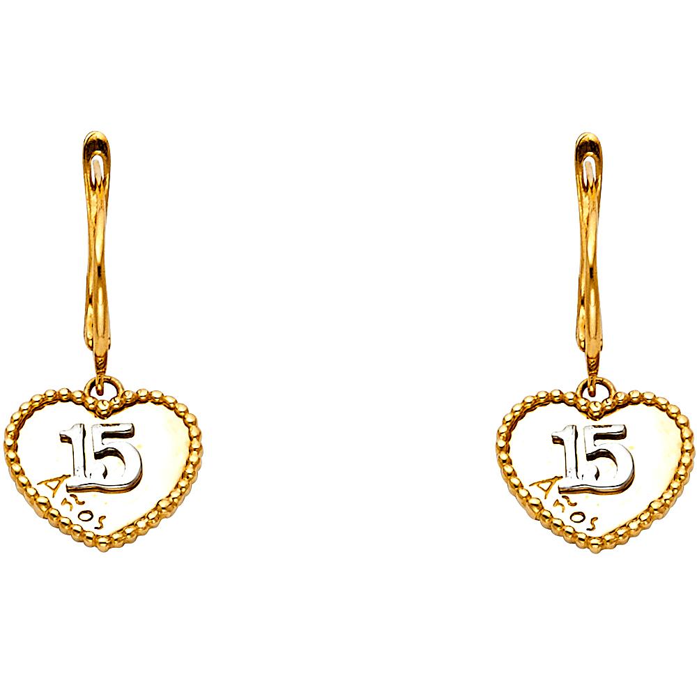 Solid 14K Gold 15 Anos Heart Earrings