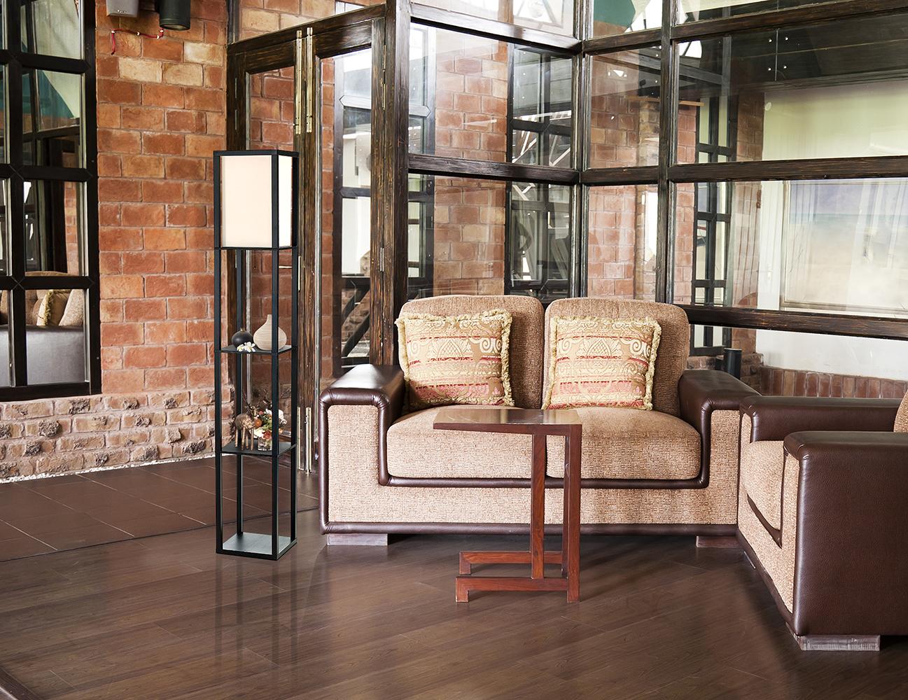 simple designs floor lamp etagere organizer storage shelf with linen shade ebay. Black Bedroom Furniture Sets. Home Design Ideas