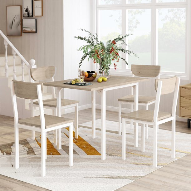 Urhomepro 5 Piece Dining Table And Chair Set Modern Metal Dining Set With 1 Drop Leaf