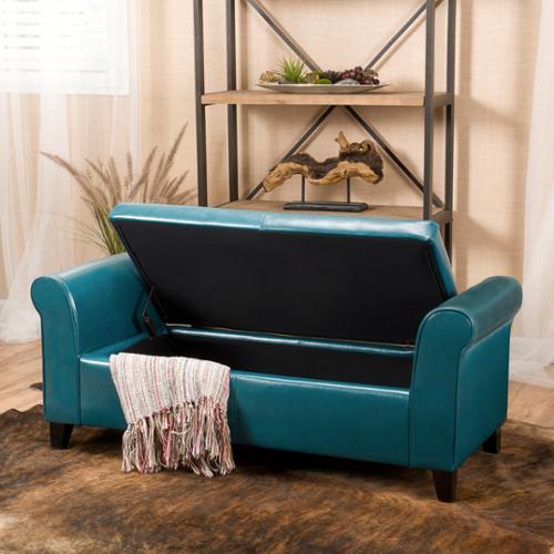 Attirant Stetson Armed Teal Storage Bench