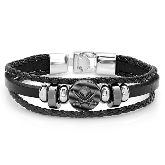 Mens Genuine Black Leather Bracelet