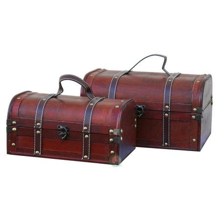 Decorative Wooden Treasure Boxes, Set of 2 Wooden Treasure Box