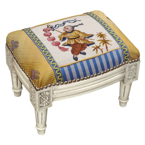 123 Creations Bay with Lantern Wool Needlepoint Upholstered Footstool