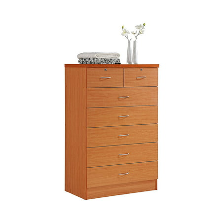 Hodedah 7 Drawer Dresser with Two Locks, Cherry (Baby Dressers Cherry)