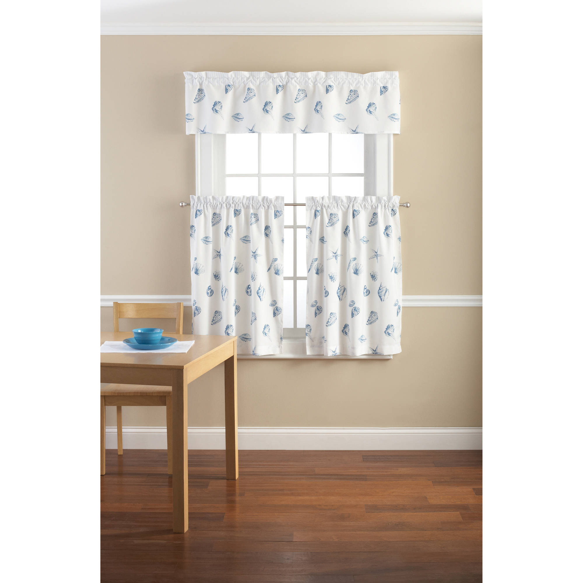 Mainstays Seashell Toss Printed Valance And Kitchen Curtains, Set
