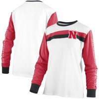 Nebraska Cornhuskers Pressbox Women's Schroeder Ringer Two-Hit Long Sleeve T-Shirt - White
