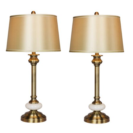 Two Luxury Lamps Without The Luxury Cost! Fangio Lighting's 1580-2PK Pair of 30 in. Antique Brass & White Glass Contemporary Candlestick Table -