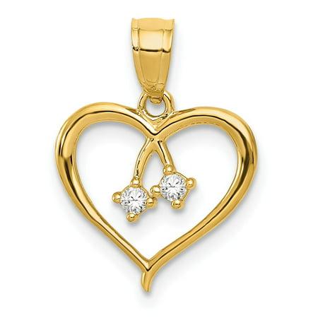 (14K Yellow Gold 2-CZ Cut-Out Heart Pendant 17.8mm x 13.2mm)