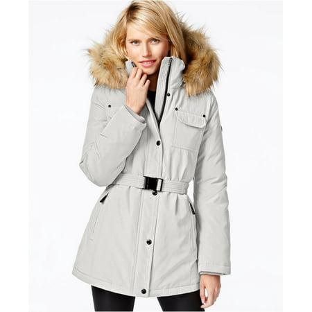 ead89380a Michael Kors Heavy Down Puffer Parka Coat with Faux Fur Hood-Vanilla-L