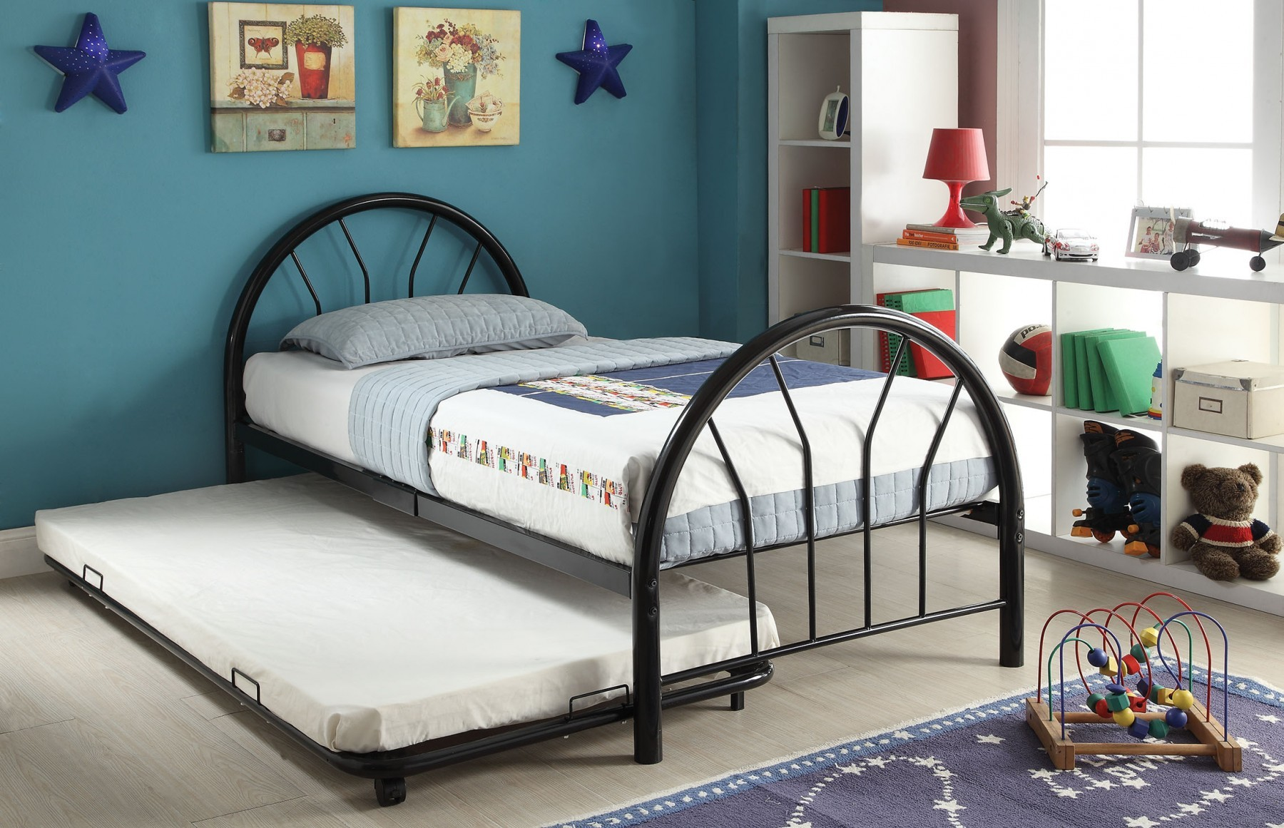 Simple Relax Silhouette Black Twin Trundle Metal Bed Walmartcom