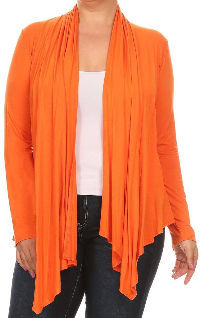 BNY Corner Women Plus Size Long Sleeve Drape Open Cardigan Casual Cover Up Orange 1X V7024 SD