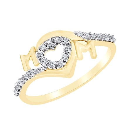 0.16 Cttw Round Cut Natural Diamond Open Heart Mom Ring In 14k Yellow Gold Over Sterling Silver-8.5 Diamond Open Heart Ring