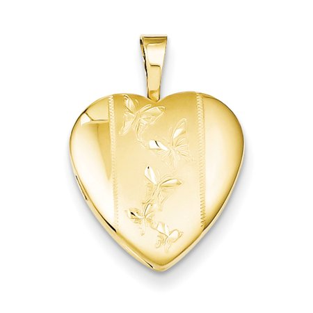 Gold Plated Sterling Silver 16Mm Diamond Cut Butterfly Heart Locket