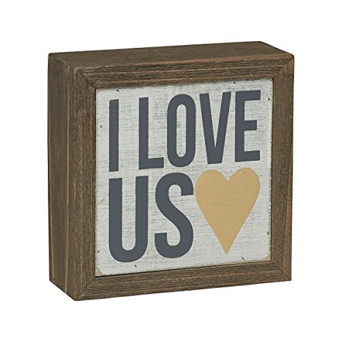 "Collins 4"" Wood Block ""I Love Us"" Decorative Shelf Sitter"