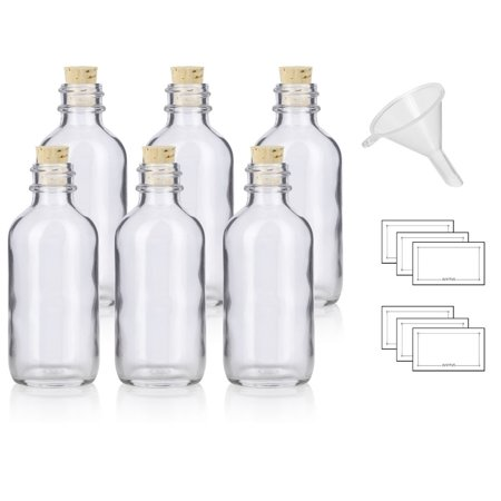 2 oz Clear Glass Boston Round Bottle with Cork Stopper Closure (6 Pack) + Funnel and Labels](Clear Glass Bottles)