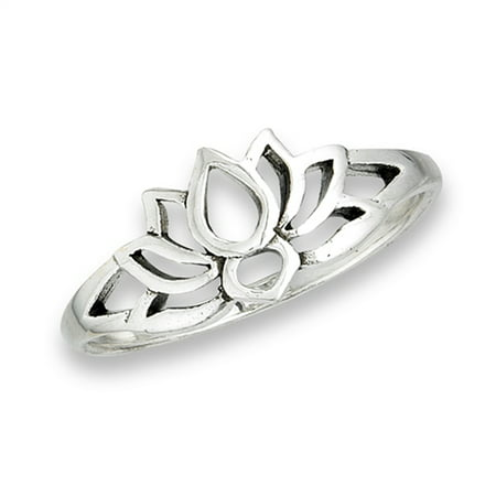 Oxidized Lotus Flower Filigree Vintage Ring ( Sizes 3 4 5 6 7 8 9 10 ) .925 Sterling Silver Band Rings by Sac Silver (Size 6)