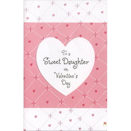 Freedom Greetings Embossed Heart & Pink Stitches: Daughter Valentine