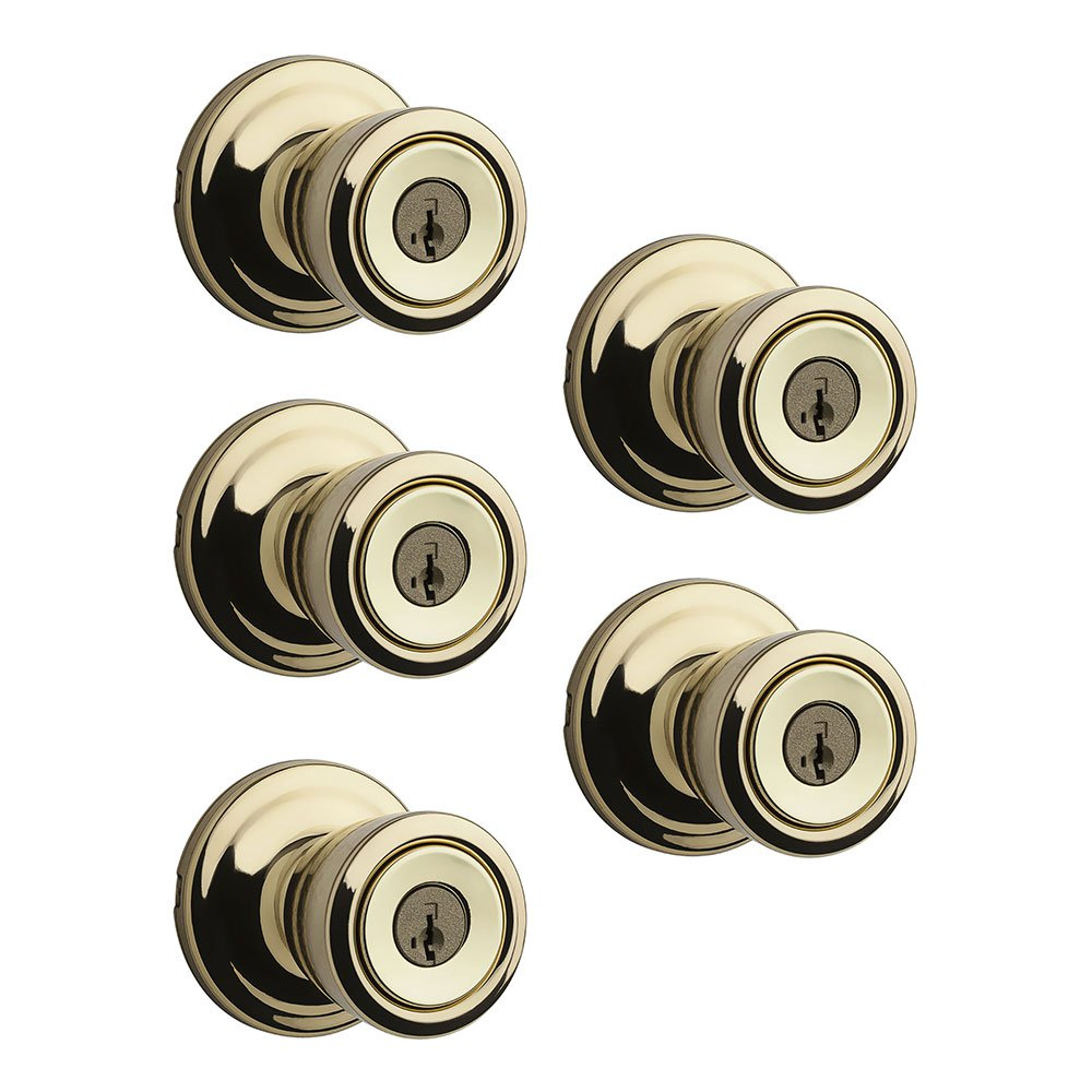 Kwikset Abbey Patio Porch Keyed Lock Handle Door Knob, Polished Brass (5 Pack)
